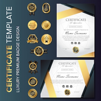 Modelo de certificado de luxo profissional com distintivo
