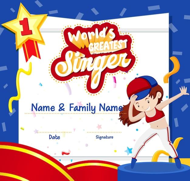 Modelo de certificado de melhor cantor do mundo