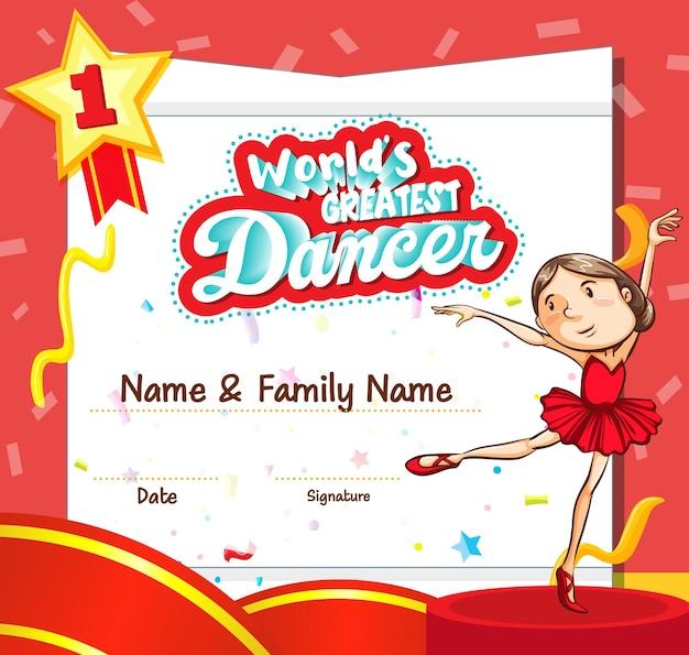 Modelo de certificado de melhor dançarino do mundo