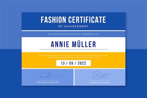 Modelo de certificado de moda em grade