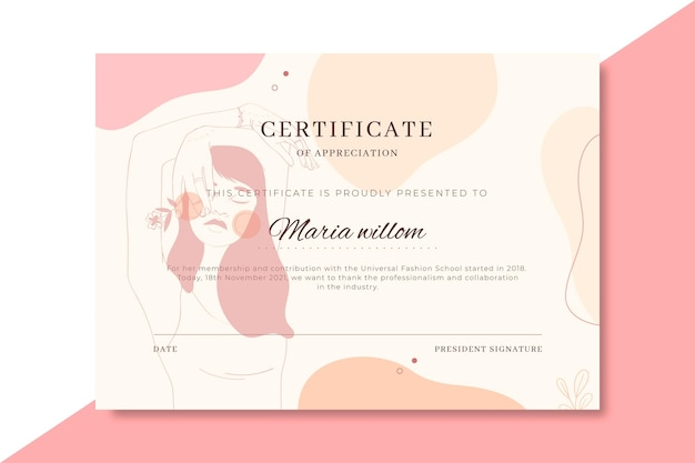 Modelo de certificado de moda realista desenhado à mão