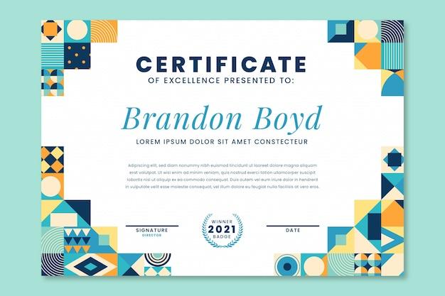 Modelo de certificado de mosaico de design plano