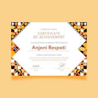 Modelo de certificado de mosaico plano