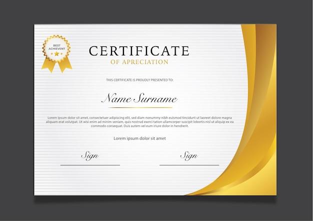 Modelo de certificado de ouro de luxo