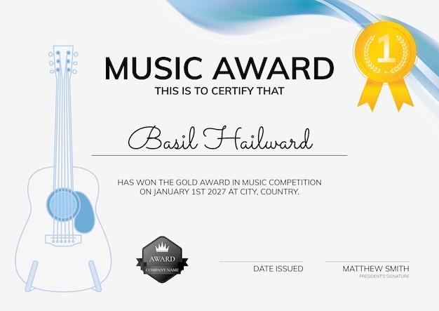 Modelo de certificado de prêmio musical com design minimalista de ilustração de guitarra