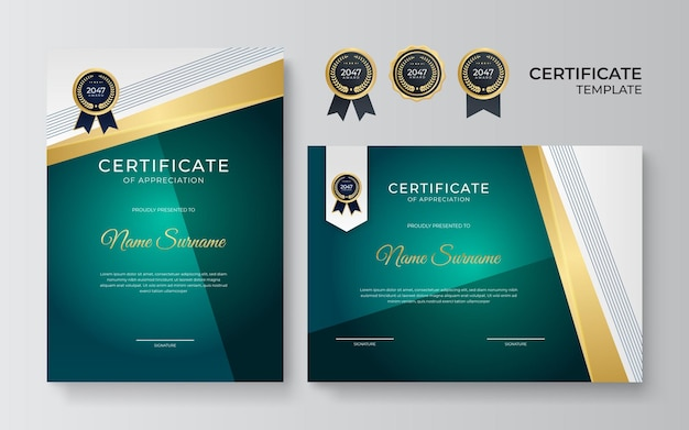 Modelo de certificado de prêmio verde e dourado elegante e profissional. certificado simples e moderno com emblema de ouro e modelo de vetor de borda