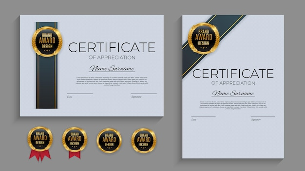 Modelo de certificado de realização azul e dourado com emblema dourado a