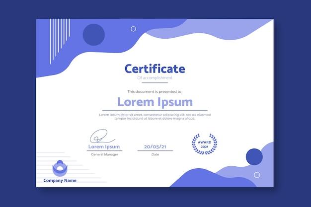 Modelo de certificado de realização simples e moderno