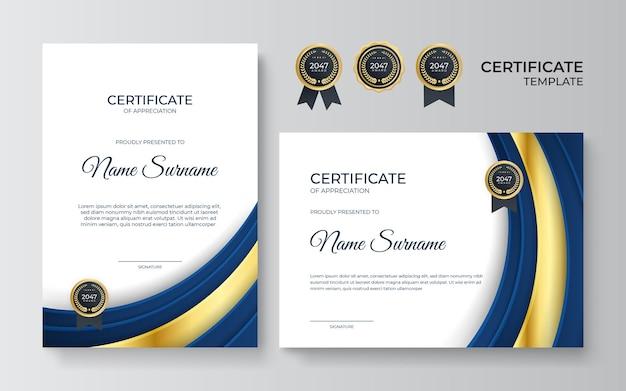 Modelo de certificado de reconhecimento premium dourado e azul, design moderno e limpo com emblema dourado