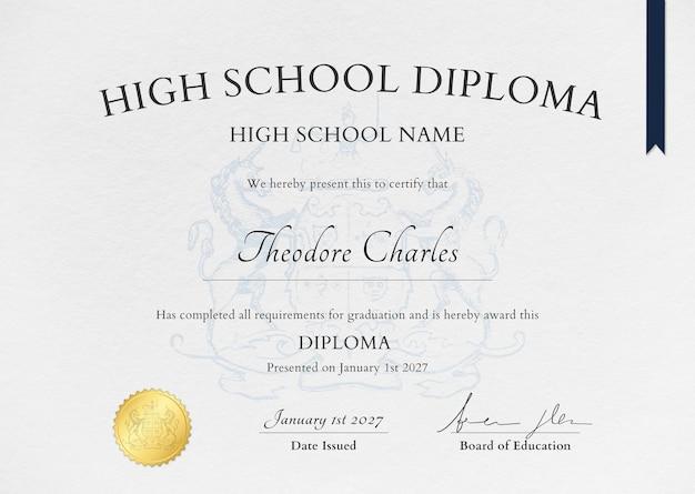 Modelo de certificado de textura de papel com enfeites para o ensino médio