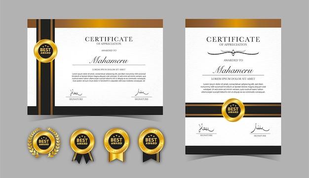 Modelo de certificado de valorização dourado e marrom