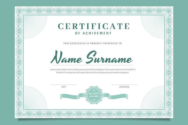 Modelo de certificado decorativo desenhado à mão para gravura