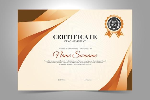 Modelo de certificado, design plano de cor marrom e laranja