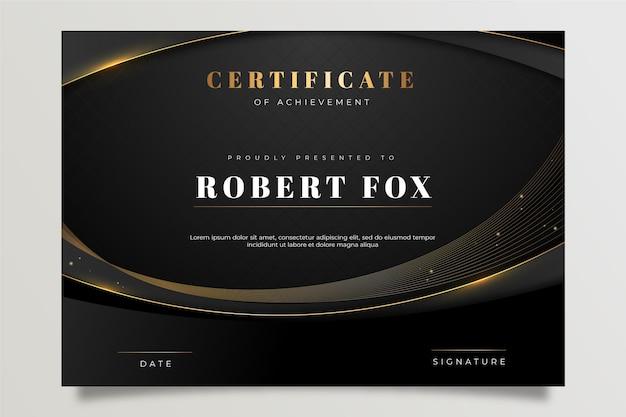 Modelo de certificado dourado