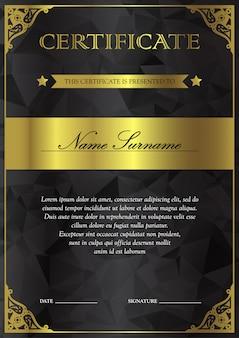 Modelo de certificado e diploma preto e dourado