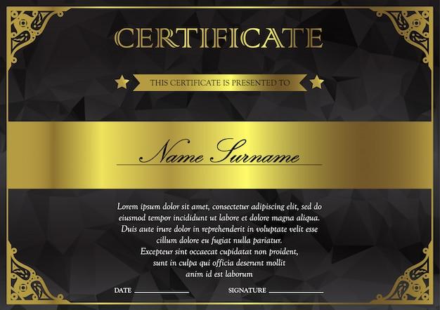 Modelo de certificado e diploma preto escuro e dourado
