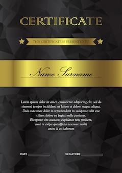 Modelo de certificado e diploma verticais preto e dourado