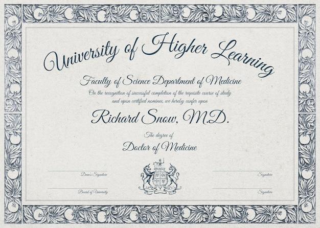 Modelo de certificado editável em design botânico de luxo