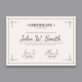 Modelo de certificado elegante com bordas chiques