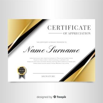 Modelo de certificado elegante com design dourado