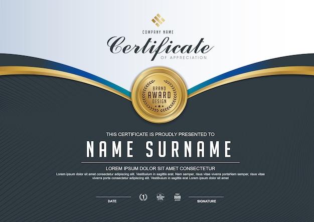 Modelo de certificado elegante com detalhes dourados