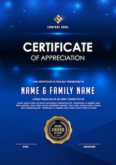 Modelo de certificado elegante com detalhes em azul