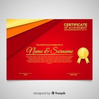 Modelo de certificado elegante com estilo dourado