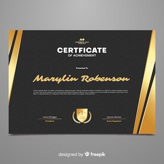 Modelo de certificado elegante com formas de ouro