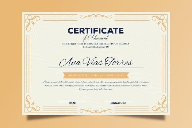 Modelo de certificado elegante com moldura dourada