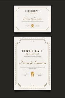 Modelo de certificado elegante com moldura ornamental e estilo clássico