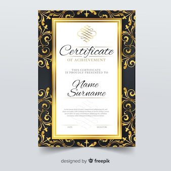 Modelo de certificado elegante com moldura ornamental