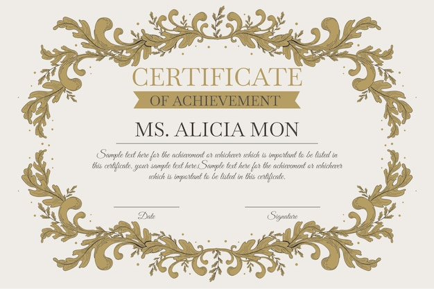 Modelo de certificado elegante com ornamentos de ouro