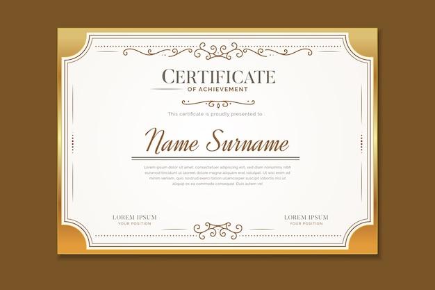 Modelo de certificado elegante com ornamentos