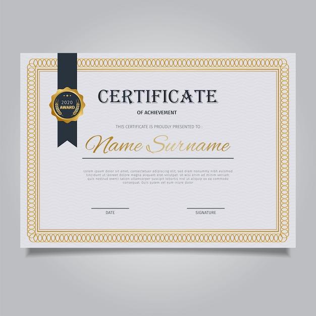 Modelo de certificado elegante com quadros de ornamento de ouro vintage