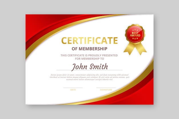 Modelo de certificado elegante de gradiente