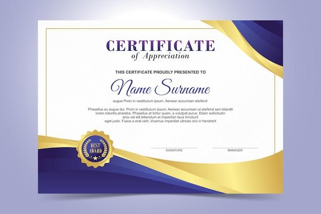 Modelo de certificado elegante, design plano moderno de cor roxa e dourada Vetor Premium