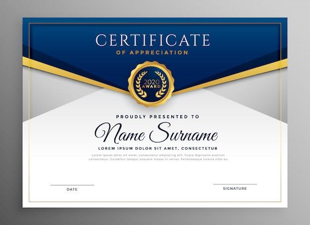 Modelo de certificado elegante diploma azul e ouro