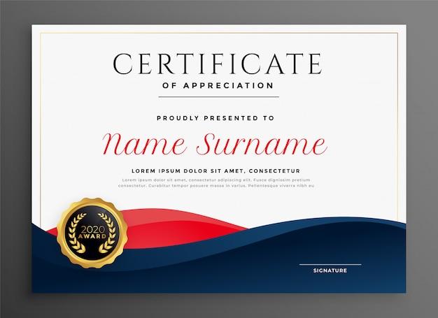 Modelo de certificado elegante diploma azul e vermelho