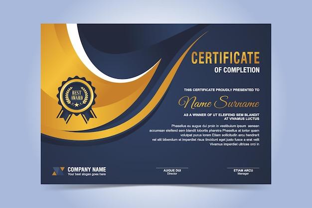 Modelo de certificado elegante em azul e ouro
