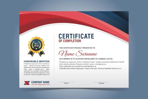 Modelo de certificado elegante em azul e vermelho