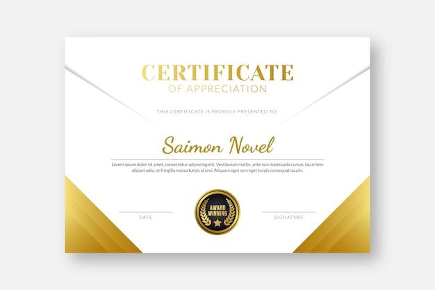 Modelo de certificado elegante modelo de certificado profissional diploma modelo de certificado design de modelo de certificado