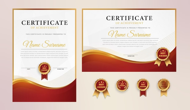 Modelo de certificado elegante ouro vermelho