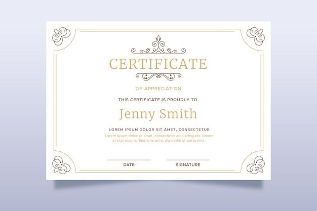 Modelo de certificado elegante
