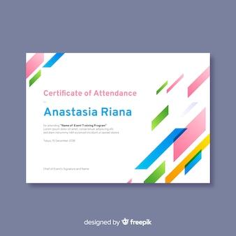 Modelo de certificado em design plano