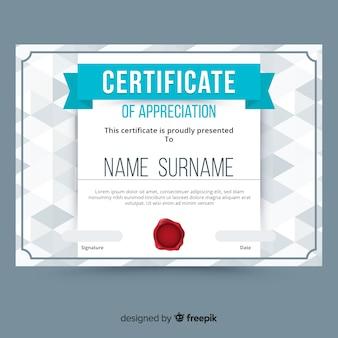 Modelo de certificado em estilo abstrato