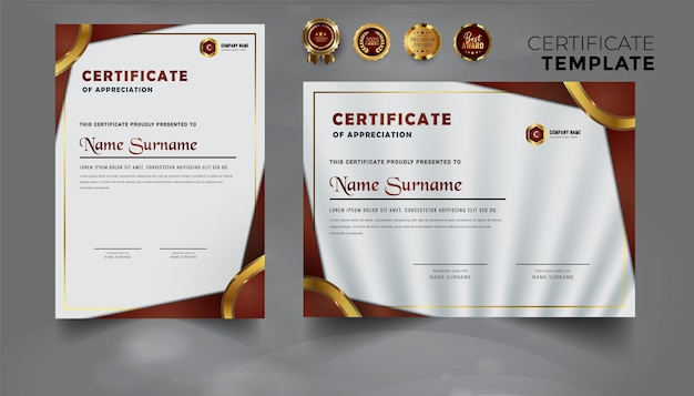 Modelo de certificado empresarial azul profissional premium