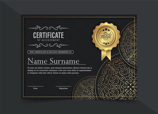 Modelo de certificado étnico elegante