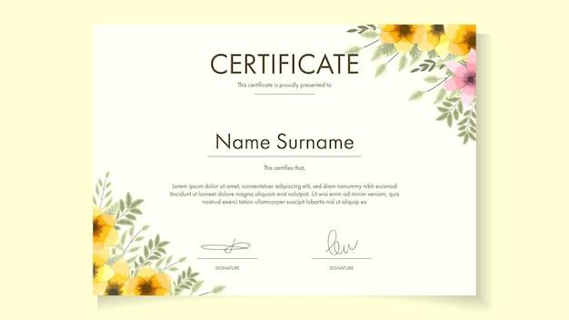 Modelo de certificado floral com delicadas flores românticas para prêmios ecológicos, prêmios de saúde, garantia, garantia, cursos, workshop, amostra de ilustração vetorial fácil de editar, personalizável