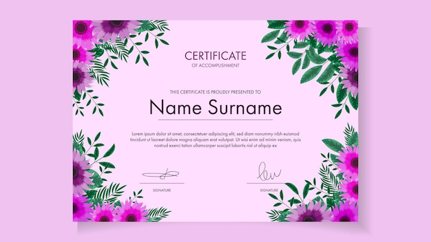 Modelo de certificado floral com delicadas flores românticas para workshop de cursos de premiação