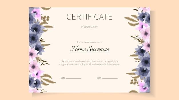 Modelo de certificado floral de flores para diploma de graduação de realizações